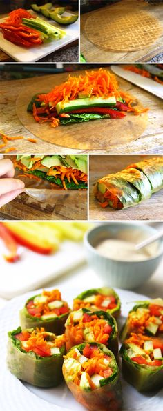 "Garden Vegetable Salad Rolls with ""Peanut"" Dipping Sauce 