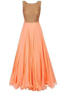 Peach dori and zari embroidered anarkali set available only at Pernia's Pop-Up Shop.