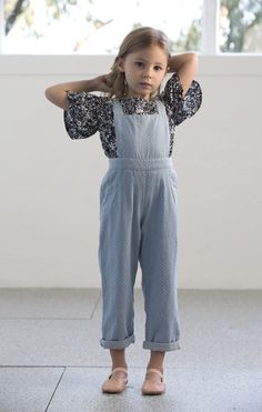 trixie overalls in chambray with white spot print | brigitte bell sleeve blouse in floral poplin    | available may 2016 www.minouche.com.au   image by shannon elise photography  #kidsfashion