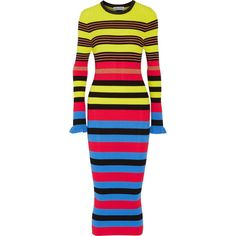 Opening Ceremony Striped ribbed-knit midi dress ($570) ❤ liked on Polyvore featuring dresses, form fitting dresses, shimmer dresses, multi color dress, stripe midi dress and multi-color dress