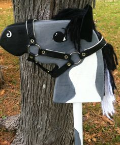 Grey and White Pinto Hobby Horse by PaintedPonyShop,