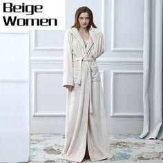 a0016b8444  EBay  Women Hooded Extra Long Warm Bathrobe Thickening Flannel Winter  Kimono Bath Robe Men