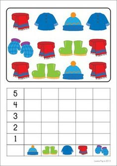 Math Centers - Winter (Beginning Skills) 127 pages. A page from the unit: Count and Graph