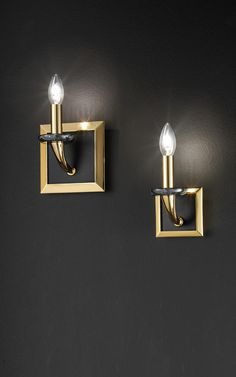 Contemporary classic wall lamp, golden brass frame, candle bulb Murano Glass, Gold Frame Wall, Classic Lighting, Contemporary Classic, Polished Brass, Applique, Wall Lights, Chandelier, Bulb