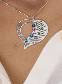 You may select any birthstones that you wish from the list below: A birthstone for each child is a special way to honor your family. Engrave up to six names accompanied by their coordinating birthstones on our Heart Shaped Birthstone Necklace for Moms. Each child will feel loved and remembered while close to Mom's heart. The silver pendant is fixed onto a silver bead chain. This item is also available in Gold Plating, Rose Gold Plating and 14K Gold.