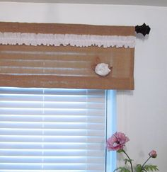 TWO IN ONE Burlap Ruffled Valance with Rose by supplierofdreams, $50.00