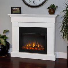 Real Flame Crawford Slim Line Electric Fireplace - White - Walmart.com