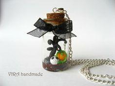 OOAK  halloween glass bottle necklace by virahandmade