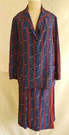 Silk Pajama Look Suit Vintage 70s Nos Hermitt Jacket Midi Skirt Mixed Print  12
