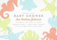 Super cute seahorse and starfish #baby_shower_invitations