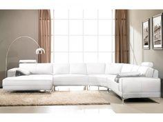 Canapé panoramique 7 places cuir supérieur DONATELLO - Blanc ivoire - Angle gauche