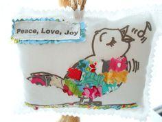 Bird Pillow Appliqued Animal Ornament Fabric Scrap by Itsewbella, $10.00