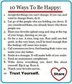 10 ways to be happy #happiness