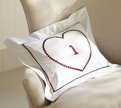 Embroidered Heart Boudoir Pillow Cover #potterybarn.  With initial of kids.