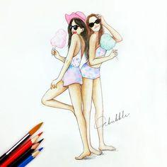 Joueur du grenier dessin animé pour fille dessins pour fille art peinture dessin maillot de bain été amies
