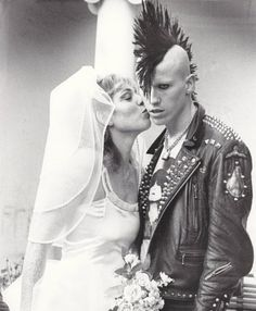 punk wedding, Mohawk, punk love, punk couple