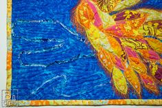 Phoenix, art quilt, quilted feathers