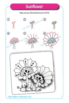 Drawing Doodles Sketchbooks Sunflower by Olha Abramova - Doodles Zentangles, Tangle Doodle, Tangle Art, Zentangle Drawings, Doodle Art, Zen Doodle Patterns, Zentangle Patterns, Doodle Borders, Tangled Flower