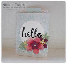 Stamps: Hello Paper: Perfectly Artistic DSP, White, Pink Pirouette, Pear, Razzleberry, Saffron,Color Me Irresistable Ink: Archival Black, Strawberry Slush