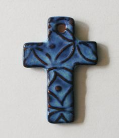 idea starter...what can I use to make a stamp/relief effect?...kbp      ceramic cross