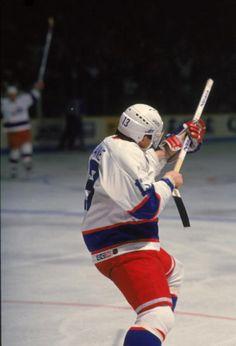 Finnish ice hockey player Teemu Selanne of the Winnipeg Jets celebrates his 54th goal in his rookie season 1992 1993 season