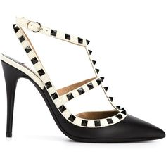Valentino Garavani Rockstud Pumps ($940) ❤ liked on Polyvore featuring shoes, pumps, black, pointy toe stiletto pumps, black ankle strap stilettos, black pumps, valentino pumps and pointy-toe pumps
