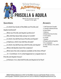 Priscilla & Aquila Bible Quiz for Kids School Songs, Sunday School Lessons, Priscilla And Aquila, Bible Activities, Bible Games, Bible Songs For Kids, Adventure Bible, Jesus Book, Bible Quiz