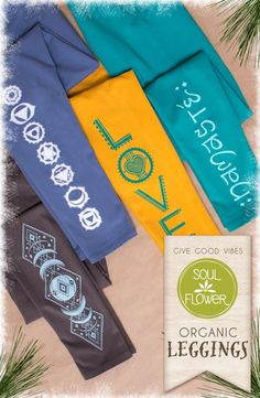 Organic Cotton Yoga Leggings from Soul Flower Clothing - perfect for yoga class or lounging around!