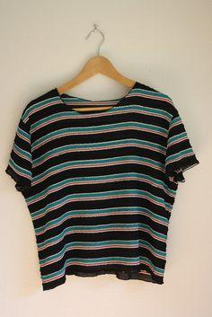 vintage 90s slouchy stripe blouse // top // shirt by acupfullofsunshine, $22.00