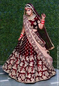 Lovely Wine & Maroon Raw Silk Lehenga Choli with Zari & Resham Embroidery Indian Bridal Outfits, Indian Bridal Fashion, Indian Bridal Wear, Indian Wedding Lehenga, Bridal Lehenga Choli, Indian Anarkali, Punjabi Wedding Dresses, Lehenga Wedding Bridal, Wedding Lenghas