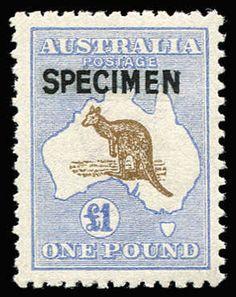 AUSTRALIA - Kangaroos - Third Watermark £1 Chocolate & Dull Blue overprinted 'SPECIMEN' Type B, BW #52Ax, excellent centring, MUH, Cat $2,25...