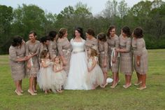 Modest taupe lace bridesmaid dresses at www.daintyjewells.com Photography: Brenda Reid | https://www.facebook.com/Brenda-Reid-Photography-567409800065963/timeline