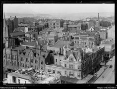Buildings in Martin Place, Sydney, ca. Photo from National Library of Australia. Historical Images, Newcastle, Old Photos, 1930s, Spotlight, Colonial, Paris Skyline, Sydney, Buildings
