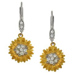 "✿ Gorgeous Sunflower diamond + gold earrings ✿ | 114212 : Pave Diamond ""Sunflower"" Leverback Earrings Diamond .21c at ...  #sunflowerwedding"