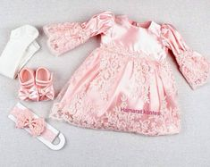Handmade Baby and Child's Clothes & Accessories by hamaratkontes Baby Christening Dress, Baby Gown, Christening Invitations, Toddler Girl Easter Outfit, Girl Toddler, Newborn Outfits, Kids Outfits, Easter Dresses For Toddlers, Baby Girl Crochet