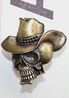 ☆ Brass Fixture Skull with Cowboy Hat Drawer Knob :¦: Etsy Shop: DaRosa ☆