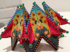 Contemporary Geometric Beadwork. My own fortuneteller bracelet, design Vandervlist with Kate McKinnon.