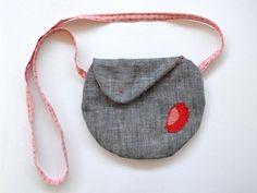 Playful shoulder bag/ navy canvas messenger bag/ by Loulalalou