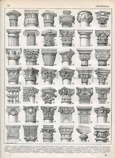 1930 Ornament Art Capitals Architecture Doric Order Roman column Antique Print Larousse 115 YEARS OLD - French antiques models and images Architecture Classique, Architecture Antique, Classic Architecture, Architecture Drawings, Historical Architecture, Architecture Details, Interior Architecture, Famous Architecture, Roman Architecture