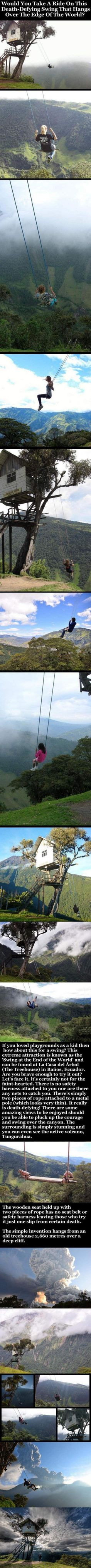 Would You Take A Ride On This Death-Defying Swing That Hangs Over The Edge Of The World? photography fun travel scary vacation adventure amazing traveling interesting vacations nature photography adventure travel adrenaline volvanoes