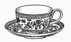 Sisters' Warehouse: Tea Time - Vintage Illustrations in Black and White - L'Ora del Te - Illustrazioni Vintage in Bianco e Nero