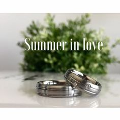 Titanium and diamonds rings. Natural color, satin, double turnings.