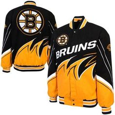 Boston Bruins Slash Twill Full Button Jacket - Black/Gold  This Slash twill jacket has more than enough fiery team pride to warm an entire section of Bruins devotees! With a bevy of twill graphics — including large team name and Boston Bruins logo graphics on both sides and Bruins logos on both sleeves. $144.95