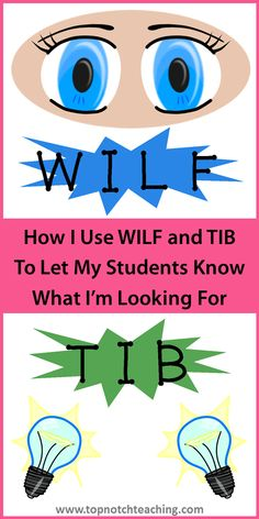 WILF and TIB is a great teaching strategy to use in your class to let your students know what you're looking for in a lesson. http://topnotchteaching.com/time-saving-tips/how-i-use-wilf-and-tib-to-let-my-students-know-what-im-looking-for/