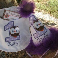 Owl, Personalized  Appliqued First Birthday Hat and Bib Set | sockmonkeyshop - Children's on ArtFire