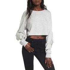 Women's Chloe & Katie Ruffle Crop Sweatshirt ($39) ❤ liked on Polyvore featuring tops, hoodies, sweatshirts, heather grey, flutter-sleeve tops, crop top, frilly tops, flutter sleeve top and ruffle-sleeve tops