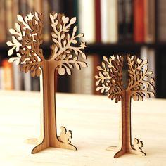 Wooden jewel tree laser cut in cedar thinning of Japan