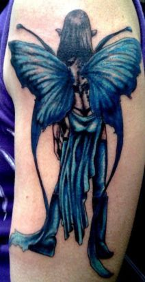 fairy inked in blue on arm.... superb design... great colors...
