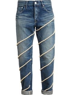 Tue Es Mon Tresor Pearl Embellished Boyfriend Jeans, $603; farfetch.com     - ELLE.com