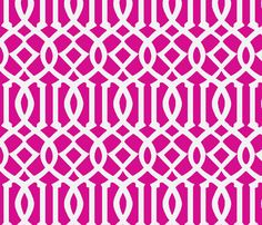 Imperial Trellis-Fuchsia/White-Large fabric by melberry on Spoonflower - custom fabric